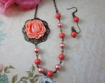 Peach Rose with coral and rose peach swarovski pearls necklace and matching earrings set.  Bridesmaid Jewelry. Wedding.