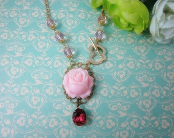 Pastel Pink Rose with rose glass jewel Necklace. Gold plated. Gift for her.