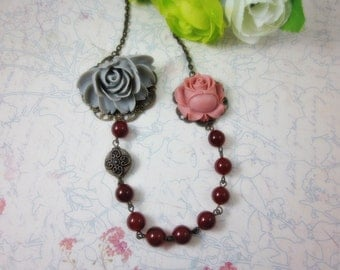 Grey and pink rose with amber agate beads Necklace.  Lovely gift for her.  Anniversary, Birthday, Wedding. Maid of Honor