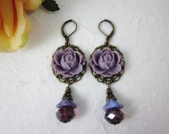 Purple Rose Earrings.  Lovely gift for her.