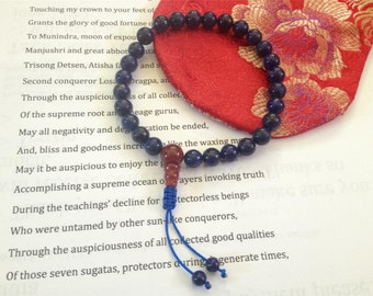 Tibetan Mala Lapis Lazuli Wrist mala 27 beads with Guru Bead GMS-85
