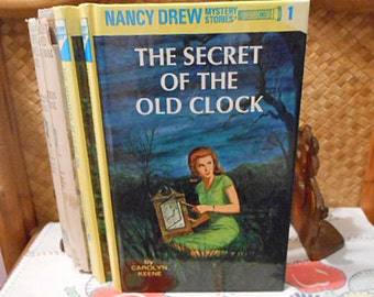 Nancy Drew SECRET Of The OLD CLOCK 1987 Carolyn Keene Book, Girl Detective, Clue Hidden Will Burglars Kidnap Vacant House, #1 in Series