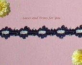 Navy Braided Lace Trim 5 Yards Floral Chain 1/2 inch wide Lot R95 Added Items Ship No Charge