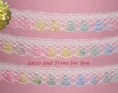 Multi Color Pastel Lace Trim 12/24 Yards Delicate 1/2 inch M51 Added Items Ship No Charge