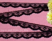 Black Lace Trim 12/24 Yards Delicate Scalloped 3/8 inch wide Lot M05 Added Items Ship No Charge