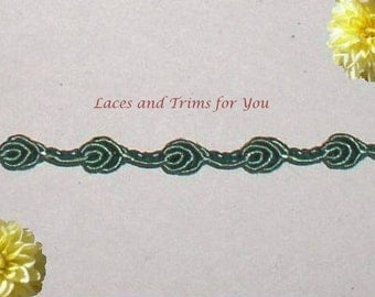 Green Gimp Trim 7/14 Yds Rosebud Braid 1/4 inch wide Lace R83 Added Items Ship No Charge