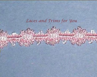 Pink Braided Fabric Lace Trim 5/10 Yards Floral 1/2 inch Lot R102 Added Items Ship No Charge