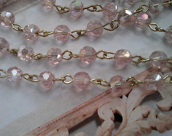 36 Inches of 6mm Faceted Round AB Pale Pink  Glass Beaded Rosary With Gold Chain Links, Jewelry Making Supply