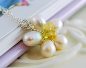 Child's Daisy Wedding Necklace Flower Girl Freshwater Pearl Yellow Tourmaline Genuine Gemstone Sterling Silver Jewelry