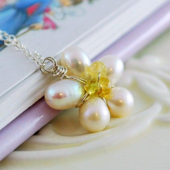 Child's Daisy Wedding Necklace Flower Girl Freshwater Pearl Yellow Tourmaline Genuine Gemstone Sterling Silver Jewelry