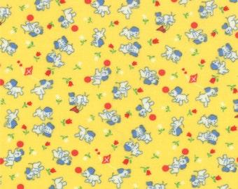 30's Playtime - Elephants in 30's Yellow by Chloe's Closet for Moda Fabrics