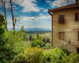 Tuscany, San Gimignano, Italy, Fine Art Photography, Green, Vineyards, Wine, Tuscan, Brown, Prints, fPOE, (6 Sizes)