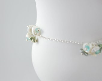 Sterling Anklet, White Keishi Keshi Freshwater Pearl, Aqua Blue, Apatite Gemstone Jewelry, Free Shipping