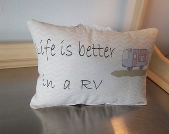 motorhome throw pillow parents gift hand illustrated rv decor retirement gift camper pillow cotton adventure decor camper gift ideas pillows