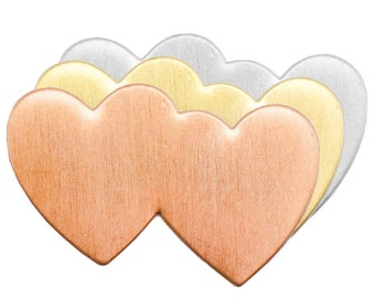 """COPPER Double Heart  - Metal Stamping Blanks  - 24 Gauge, 1 7/16"""" - 5 for You"""