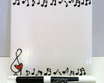 Dry Erase Tile - Music Notes and Hearts - with Wooden Stand and Marker