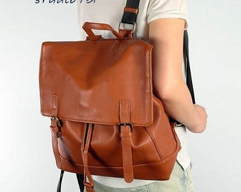 Comfortable and chic Leather Backpack - Tan Brown