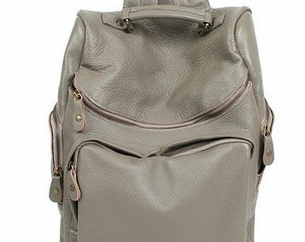 Chic Style Leather Backpack - Grey