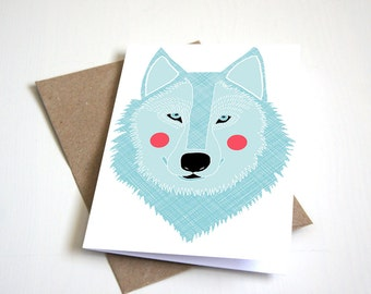 Greeting Card, Blank Card, Birthday Card, Winter wolf, Wolves