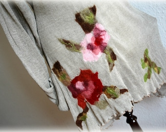 LINEN Knitted Grey Tunic With Felt Flower Appliques  Eco Friendly Clothing Natural Women's Tunic Plus Size