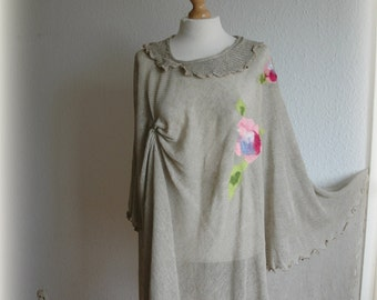Grey delikate summer poncho, knitted LINEN , flower feltted appliques, unique clothing,  woman cape, eco friendly ,clothing plus size
