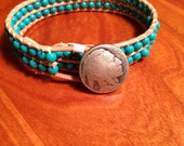 Indian head nickel and turquoise bead bracelet