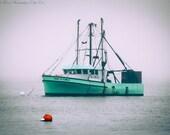 MAINE Photography ~ LOBSTER BOAT Art Nautical Decor Teal Blue White Maine Art Lobster Boat Photography Ocean Art Marine Decor Atlantic Ocean