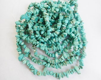 """34"""""""" strand  Blue chalk  Turquoise  chip beads (6-14x2-4mm)"""