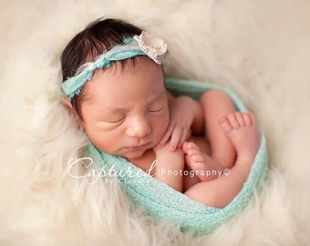 Leighton Heritage Newborn Stretch Wrap IN STOCK and Ready to Ship Super Stretch Knit Soft Swaddle Photography Prop Girly Mint Posing Layer