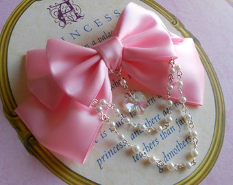 Sweet Lolita Hair clip or Brooch pink bow with glass heart and white pearl beads
