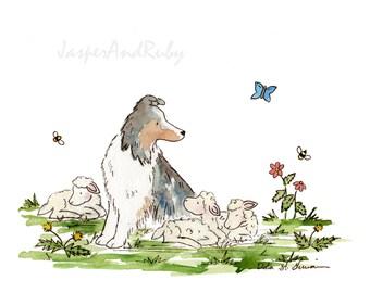 Puppy Nursery Art, Sheltie and Sheep, Dog Nursery PRINT, Farm Nursery Art, Children's Wall Art, Kids Wall Art, Children's Art, Lamb Nursery