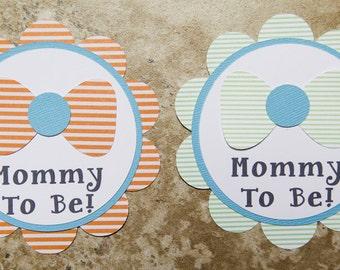 Seer Sucker Bowtie Theme Chevron Button Pin- orange blue green white- for Baby Shower or Birthday Party (Quantity 1)