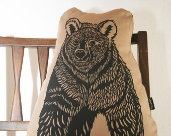 Screen Printed Bear Softie Pillow