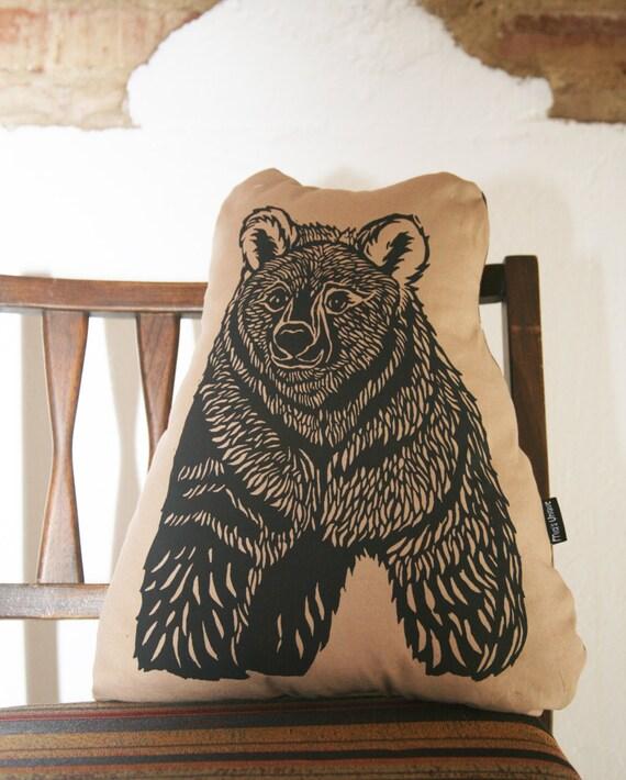 Screen Printed Bear Softie Pillow