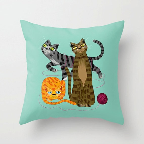 "Three Cool Cats - Throw Pillow / Cushion Cover (16"" x 16"") iOTA iLLUSTRATION"