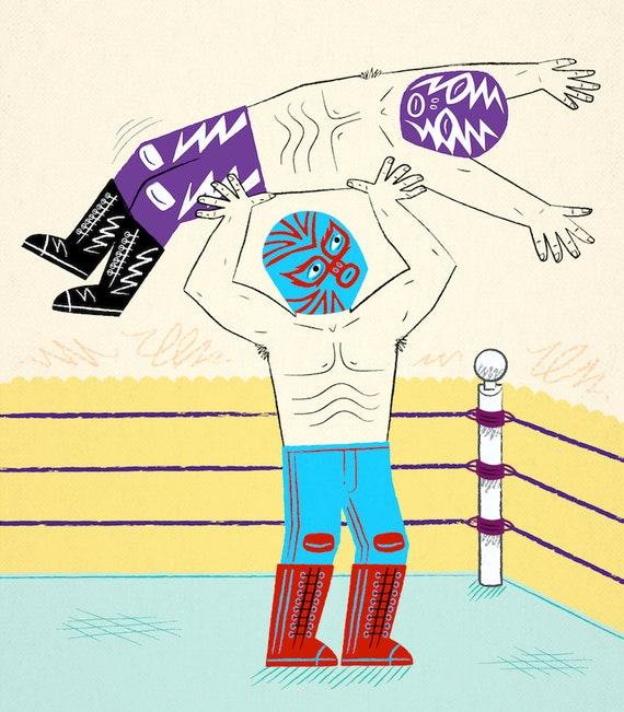 Lucha Libre -  Mexican Wrestling illustration - Limited Edition Art Poster Print