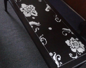 Hand painted One of a Kind Coffee Table in Black