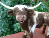 Longhorn Steer Needle Felted With Ring in HIs Nose  One of a KInd Bull / Cow