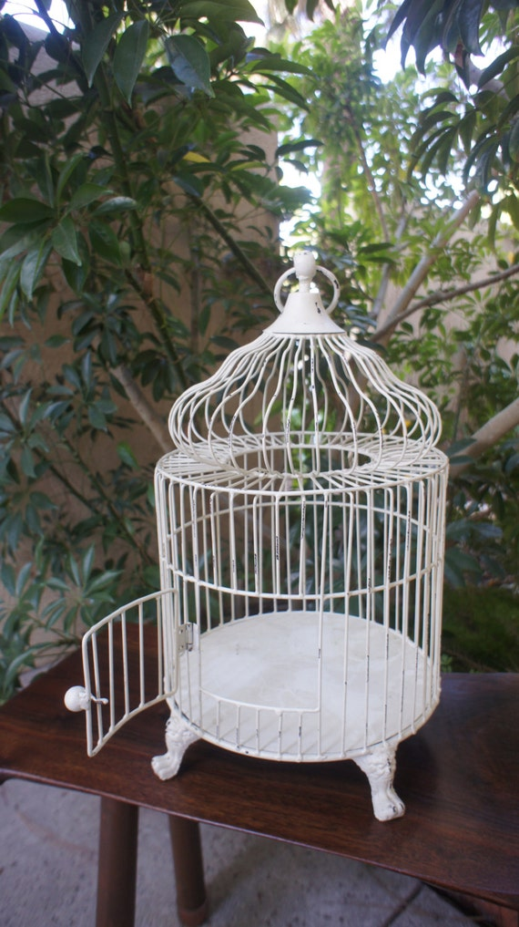 White Vintage Steel Bird Cage Shabby Chic With Chippy White