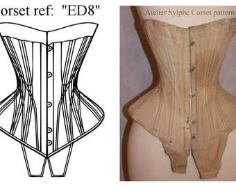 REF ED8, S curve Edwardian corset pattern drafted from antique early XXe century, 28 inches waist size