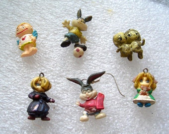 Vintage different Little figurines charms  - bunnies, children, whitch