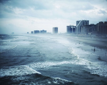 Atlantic City - 8x10 Fine Art Photograph, Ocean, Beach, Blue, Sea, City, Jersey Shore