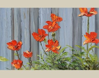 ORIGINAL Oil Painting Spring Beauty  23 x 36 Flowers Palette Knife Bright Colorful Red Orange Green Fence Poppies Textured ART By MARCHELLA