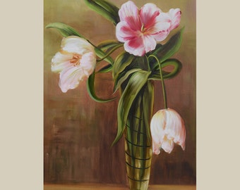 ORIGINAL Oil PaintingTulips 36 x 23 Colorful Flower White Pink Green Brown Realism Vase Love  Romance Brush Spring ART by Marchella