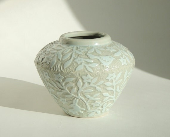 Small Vase Handmade in Pastel Blue Green. Hand Carved and Richly Textured