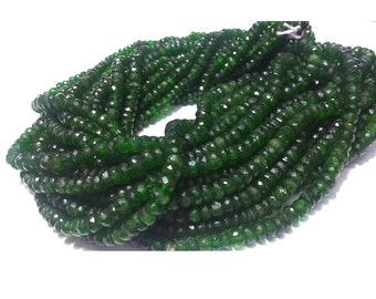 Green Tourmaline Beads, Faceted Rondelle Beads, Faceted Green Tourmaline, 4mm To 6mm Beads, 8 Inch Half Strand,100 Pieces