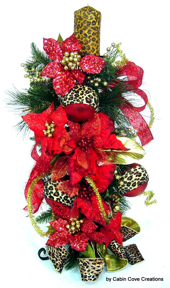 Items Similar To Christmas Floral Arrangement Candle