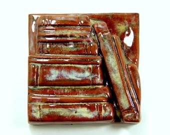 Bookshelf Tile 4x4 - Rustic Brown Ceramic Tile Book Lover Reading Group Gift Graduation Books