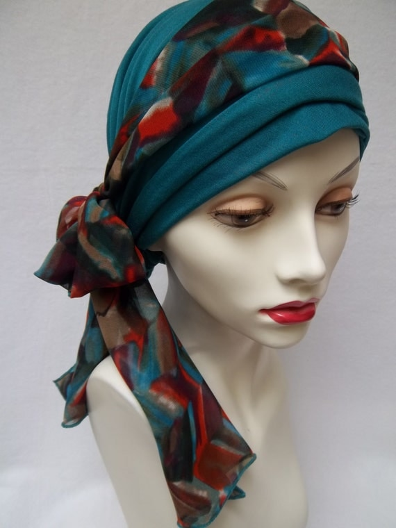 Chemo Head Scarf  Rayon Turquoise Soft Stretchy Head Wear Light Head Covering