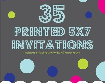 Printing Service Add On, 35 5x7 printed invitations, one sided, color, Includes shipping and envelopes